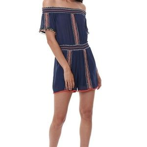 THML Embroidered Romper/Off the Shoulder. NWT. Sm.